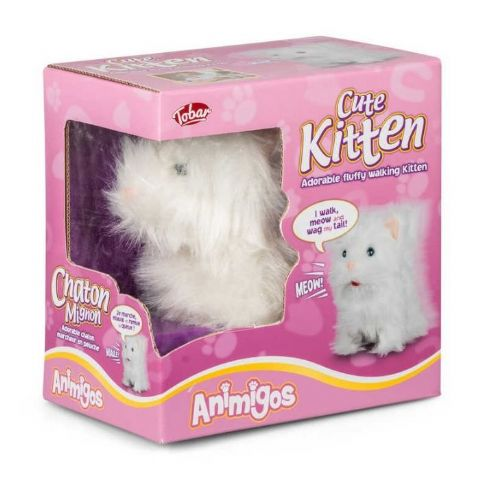 Cute Kitten White Animigos Plush Toy Tobar 18m+